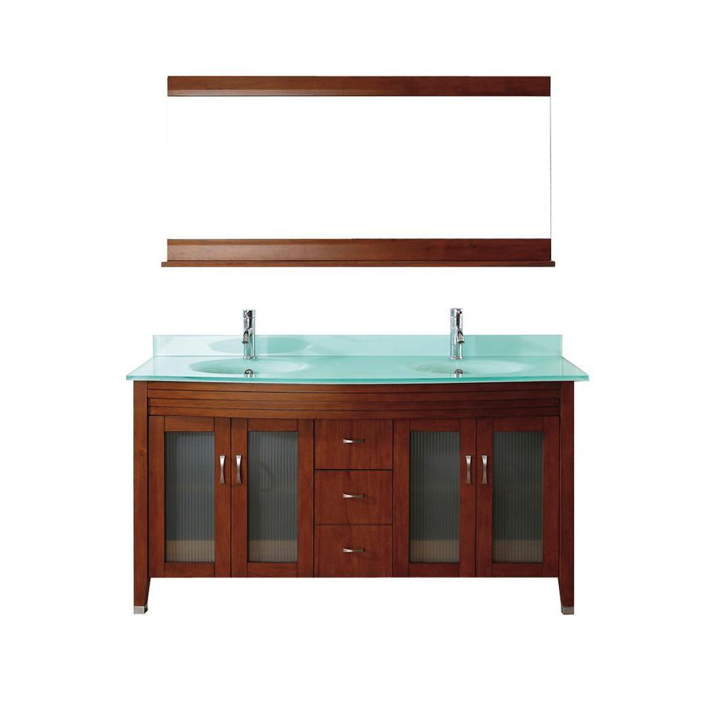 Studio Bathe Alba 63 in. Vanity in Classic Cherry with Glass Vanity Top in Classic Cherry and Mirror