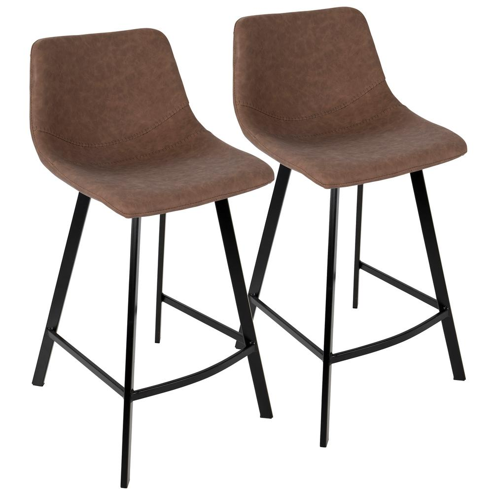 Shop Dark Brown Metal Frame Faux Leather Kitchen And: Lumisource Outlaw Industrial Brown Counter Stool Faux
