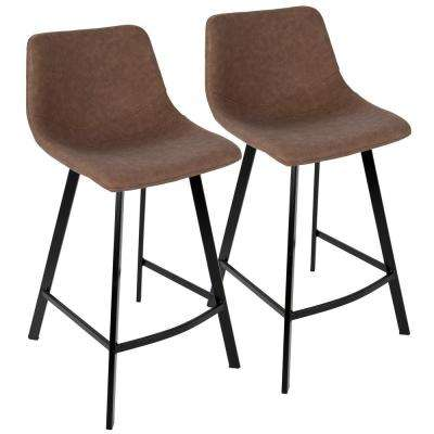 Outlaw Industrial Brown Counter Stool Faux Suede (Set of 2)
