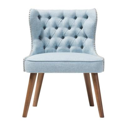 Scarlett Mid-Century Blue Fabric Upholstered Accent Chair