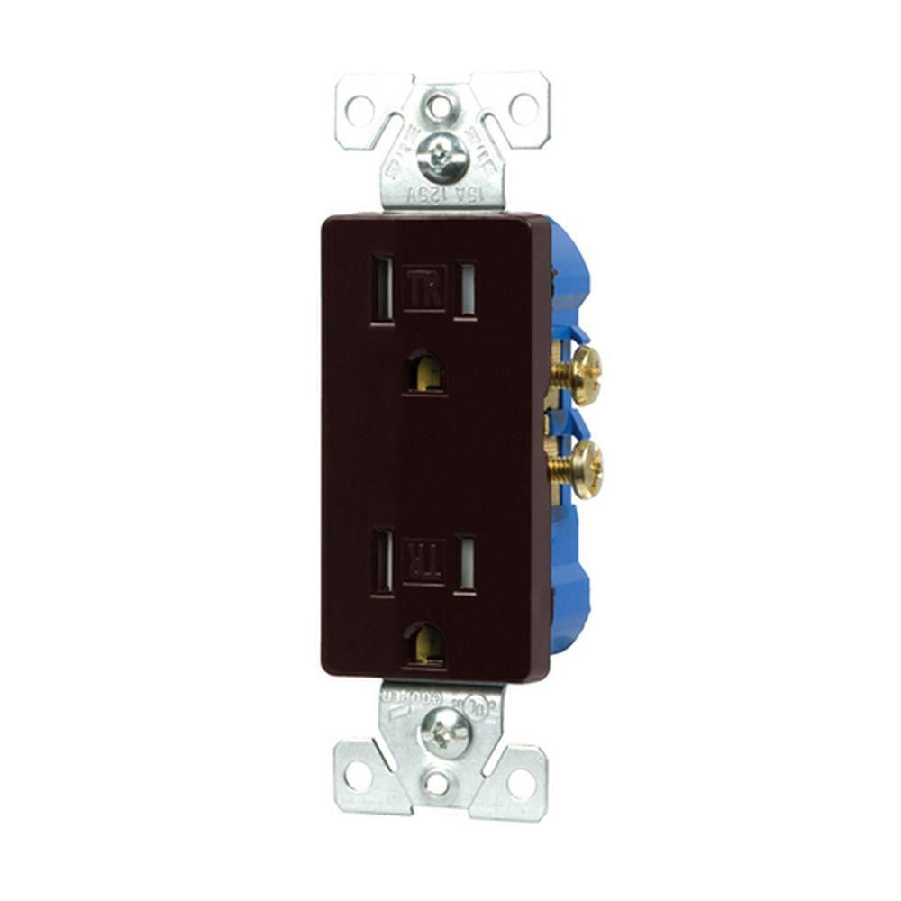 15-Amp Tamper Resistant Decorator Duplex Outlet Receptacle with Side and Push