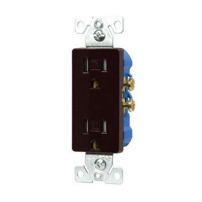 15-Amp Tamper Resistant Decorator Duplex Outlet Receptacle with Side and Push Wire - Brown