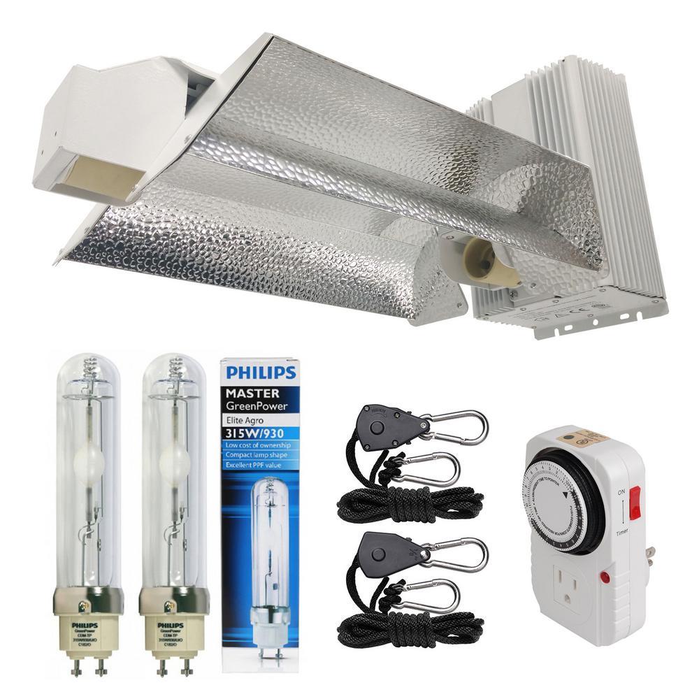 630-Watt Ceramic Metal Halide CMH Dual Lamp Open Style Grow Light System with Philips Full Spectrum 315W 3100K Lamp