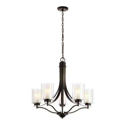 Elmwood 5-Light Heirloom Bronze Chandelier with Satin Etched Glass Shades