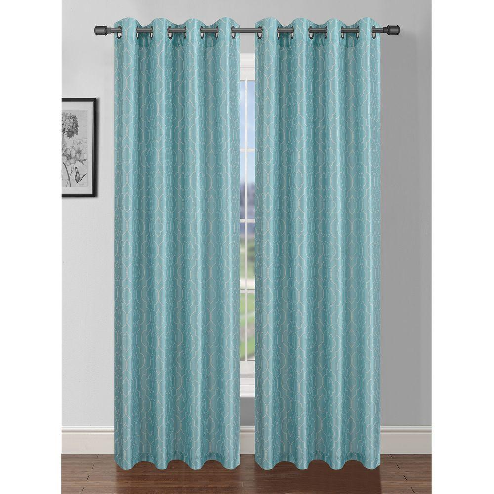 Window Elements Semi Opaque Jasper Printed Faux Silk 84 In. L Grommet Curtain  Panel