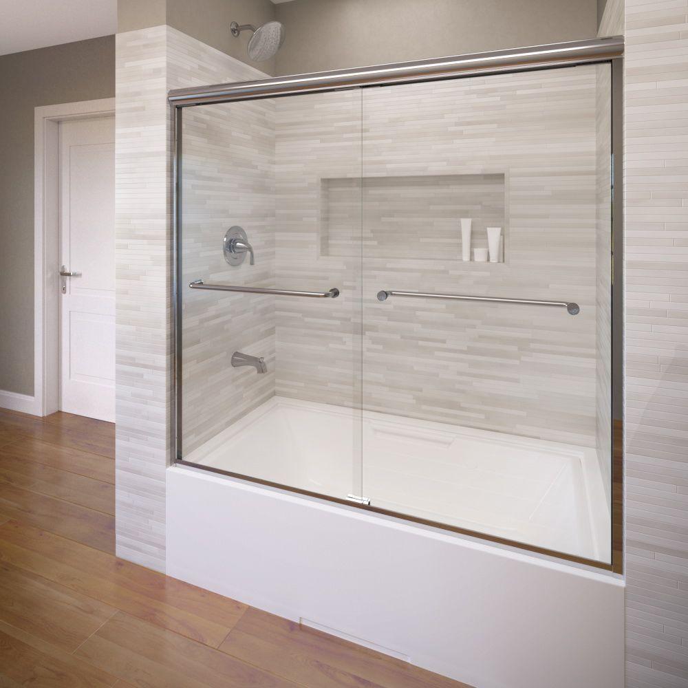 Infinity 58-1/2 in. x 57 in. AquaglideXP Clear Semi-Framed Sliding Door in Silver