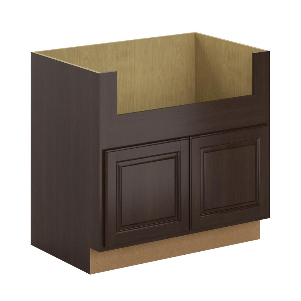 Hampton Bay Madison Assembled 36x34.5x24 In. Farmhouse Apron-Front Sink Base Cabinet In Java