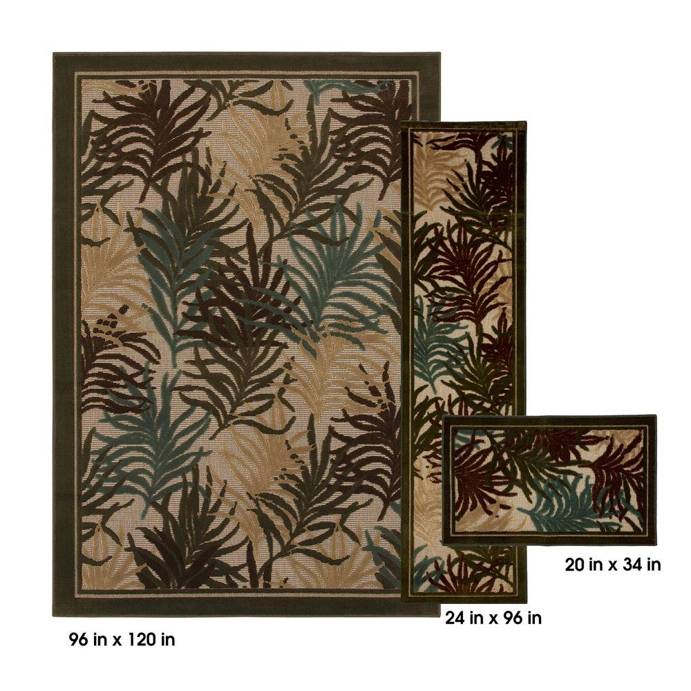 Mohawk Fronds Spruce 8 ft. x 10 ft. 3 Piece Rug Set-DISCONTINUED