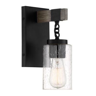 Fulton 1-Light Matte Black Wall Sconce with Clear Seedy Glass Shade
