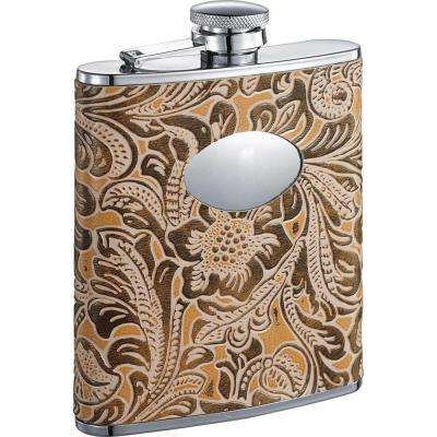 Marigold Floral Pattern Liquor Flask 6 oz.