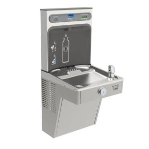 filtered ezh2o bottle filling station with single green cooler - Elkay Drinking Fountain