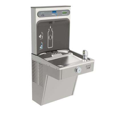 Filtered EZH2O Bottle Filling Station with Single Green Vandal-Resistant Cooler