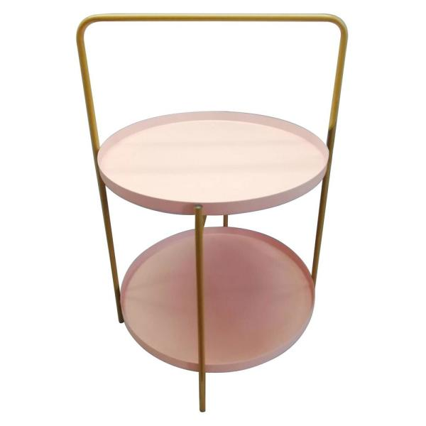Brilliant 23 5 In Pink Metal Tray Table Home Remodeling Inspirations Cosmcuboardxyz