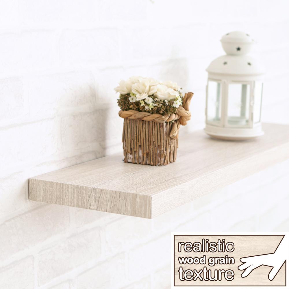 Antigua 24 in. W x 8 in. D zBoard Paperboard Textured Grain Wall Shelf Decorative Floating Shelf in White Ash