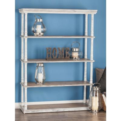 64 in. H x 47 in. W 5-Tiered Wooden Shelf in Matte White and Natural Brown