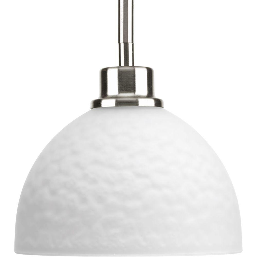 Legend Collection 1 Light Brushed Nickel Mini Pendant With Sculpted Glass