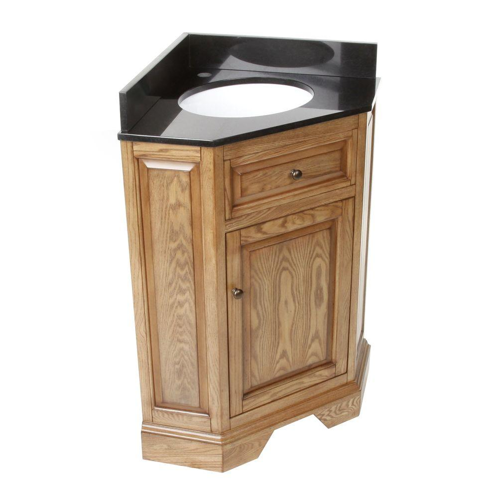 Hembry creek chesapeake 26 in corner vanity in driftwood with granite vanity top in black with for Black corner bathroom cabinet