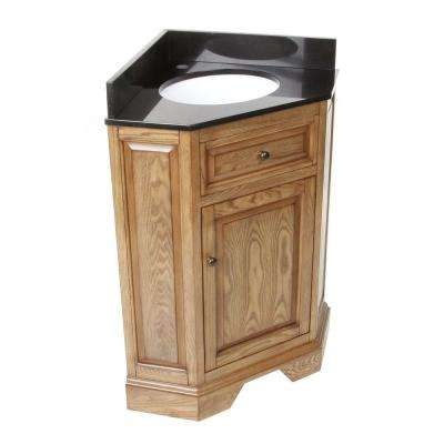 Chesapeake 26 in. Corner Vanity in Driftwood with Granite Vanity Top in Black with White Basin