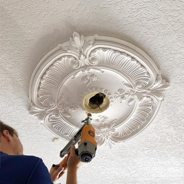 Ekena Millwork 12 In X 8 In I D X 1 2 In Andrea Urethane Ceiling Medallion Fits Canopies Upto 8 In Pot Of Cream Cm12adpcf The Home Depot