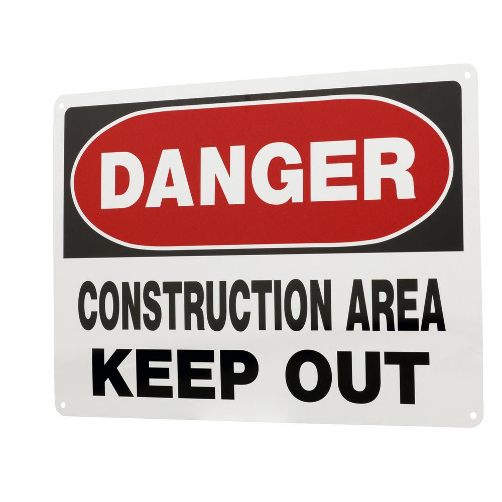 Everbilt 10 in. x 14 in. Aluminum Danger Construction Area Keep Out Sign