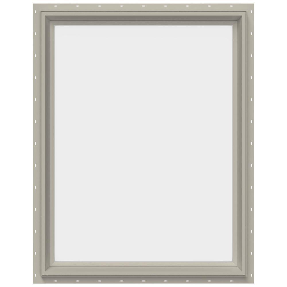 JELD-WEN 29.5 in. x 35.5 in. V-2500 Series Desert Sand Vinyl Picture Window w/ Low-E 366 Glass