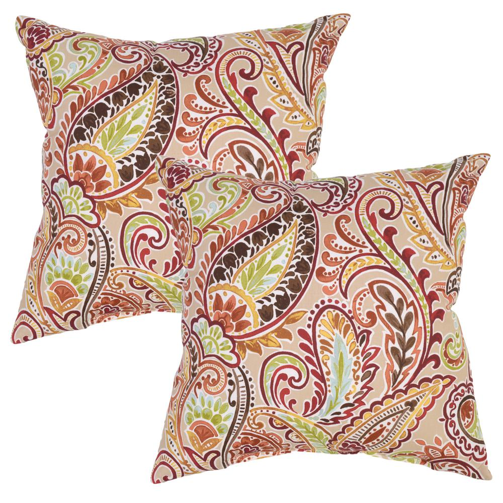 Plantation Patterns Chili Paisley Square Outdoor Throw Pillow (2-Pack)
