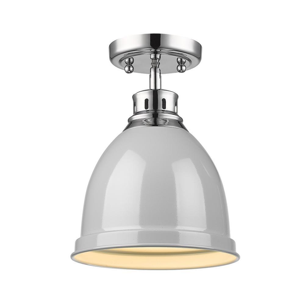 Golden Lighting Duncan Collection 1-Light Chrome Flush Mount with Gray Shade