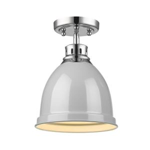 Duncan Collection 1-Light Chrome Flush Mount with Gray Shade