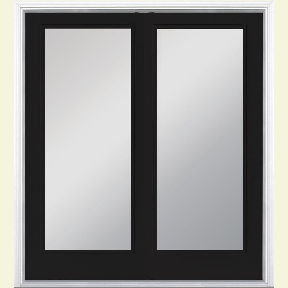 Masonite 72 in. x 80 in. Jet Black Prehung Left-Hand Inswing Full Lite Steel Patio Door with No Brickmold in Vinyl Frame