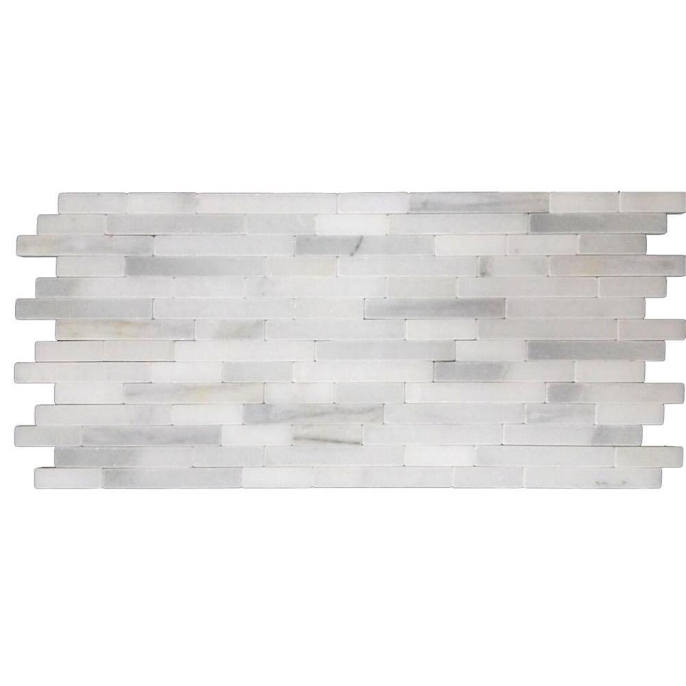 MSI Greecian White Veneer 8 in. x 18 in. x 10 mm Tumbled Marble Mesh ...