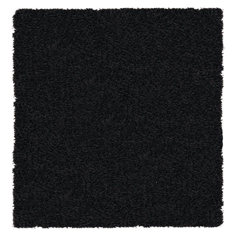 Lanart Shag-a-liscious Black 5 ft. x 5 ft. Area Rug