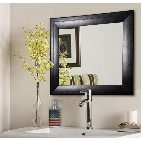 undefined 29.75 in. x 29.75 in. Stitched Black Leather Square Vanity Wall Mirror