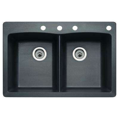 Diamond Dual-Mount Granite 33 in. 4-Hole 50/50 Double Bowl Kitchen Sink in Anthracite
