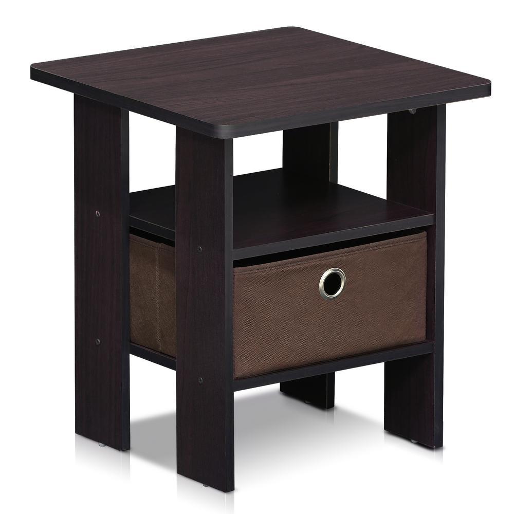 Dark Walnut Storage End Table