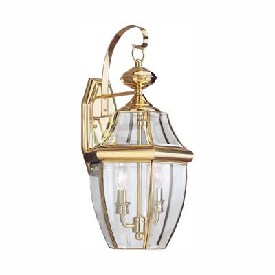 Lancaster 2-Light Polished Brass Outdoor 20.5 in. Wall Lantern Sconce with Dimmable Candelabra LED Bulb