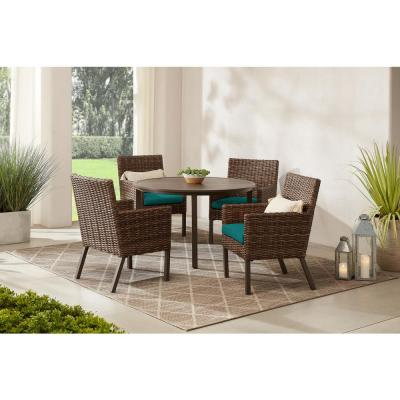Fernlake 5-Piece Taupe Wicker Outdoor Patio Dining Set with Sunbrella Peacock Blue-Green Cushions