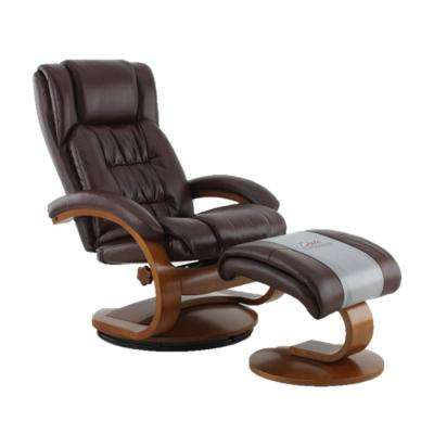 Oslo Collection Whisky Breathable Air Leather Swivel Recliner with Ottoman