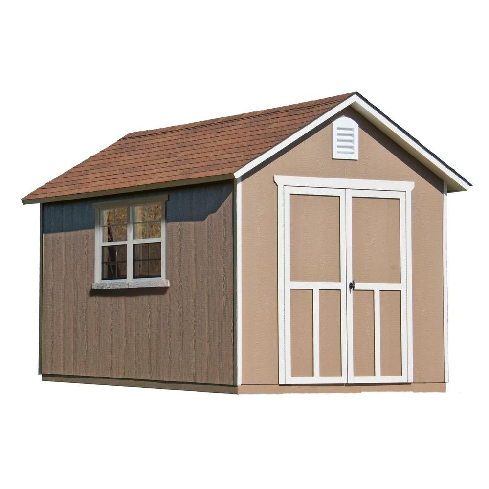 handy home products meridian 8 ft x 12 ft wood storage shed with floor
