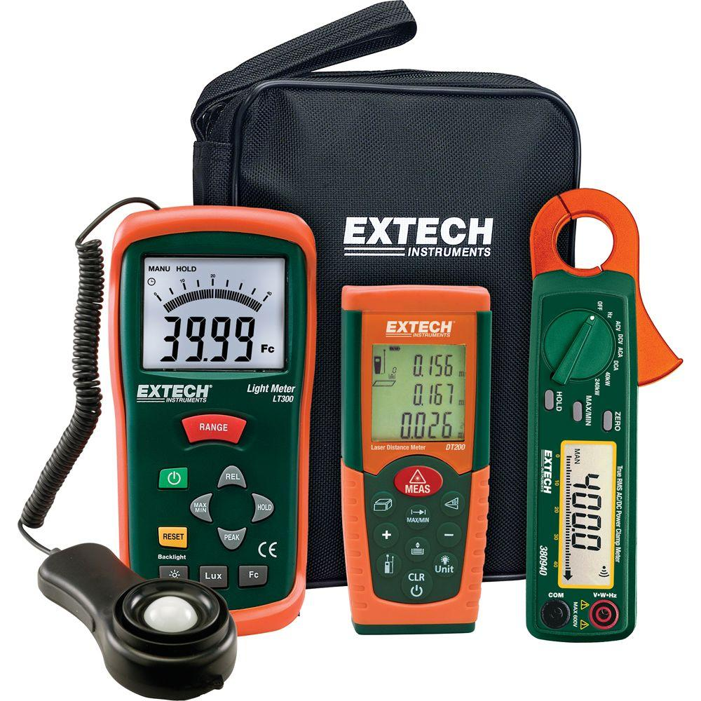 Extech Instruments Light Meter/Laser Distance Meter Kit with AC/DC Power Clamp Meter