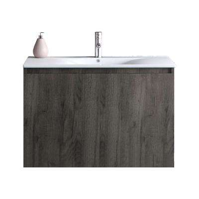 30 in. W x 18 in. D x 20 in. H Floating Wall Mount Bath Vanity in Walnut with Vanity Top in White with White Basin