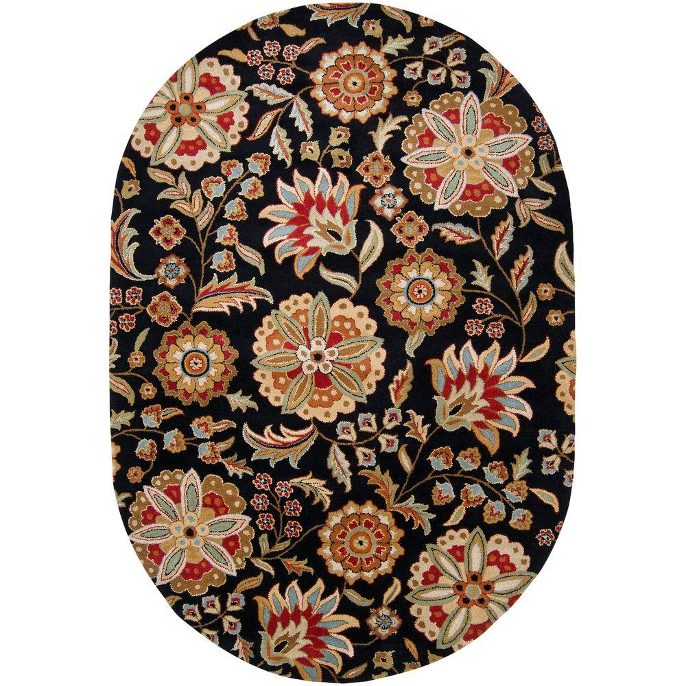 Artistic Weavers Sarah Black 6 Ft X 9 Ft Oval Area Rug