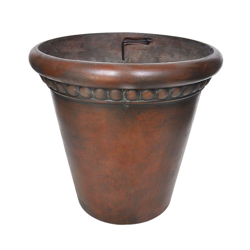 18 in. Dia Patina Green Composite Drip Irrigation Pot (Set of