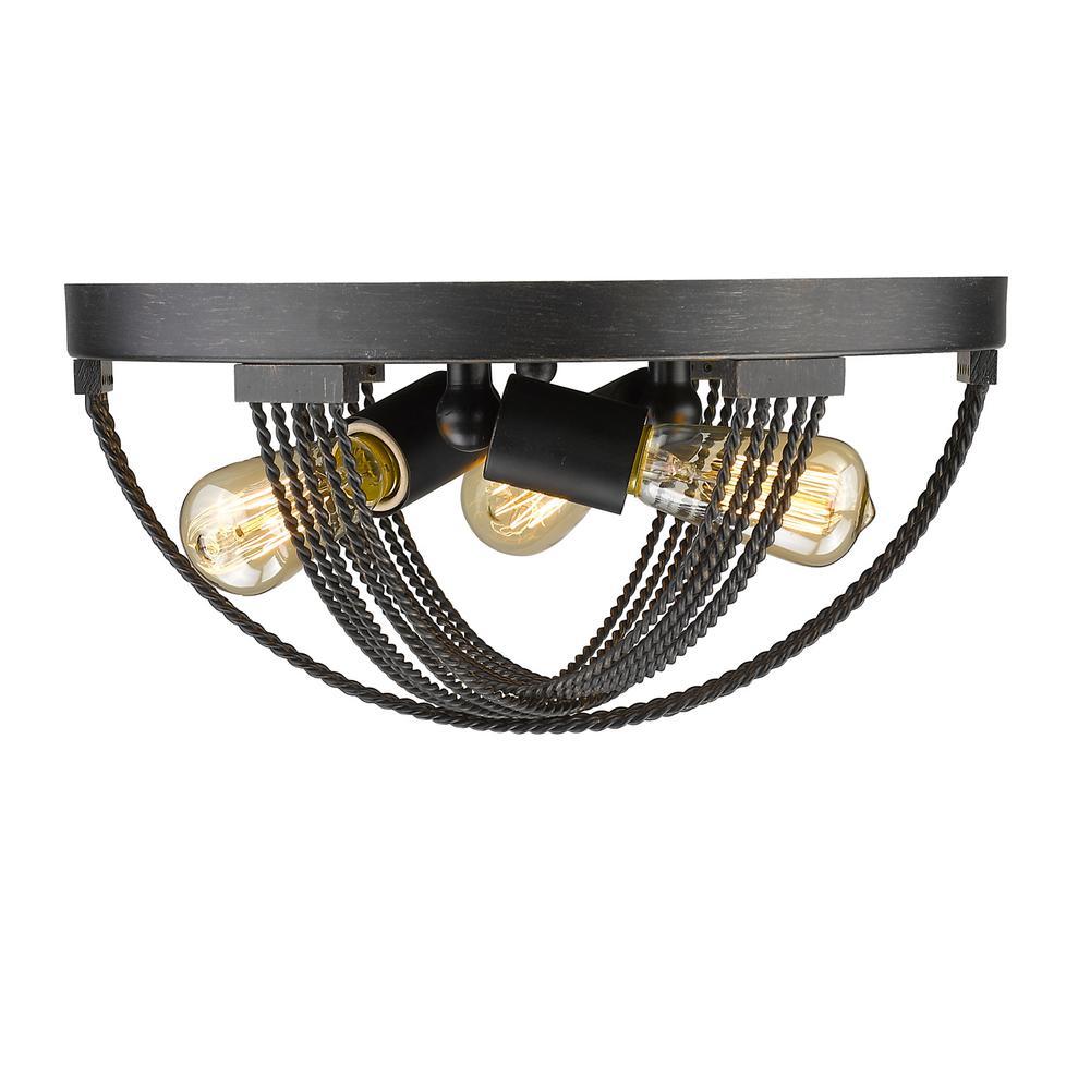 Carter 3-Light Aged Bronze Flushmount Light