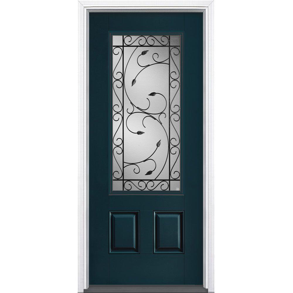 36 in. x 80 in. Pergola Night Tide 3/4 Lite Left Hand Inswing Painted Smooth Fiberglass Prehung Front Door w/ Brickmold