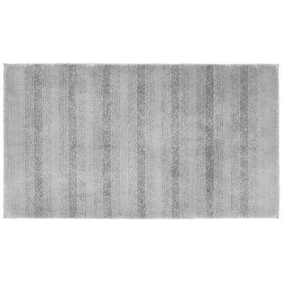 Essence Platinum Gray 30 in. x 50 in. Washable Bathroom Accent Rug