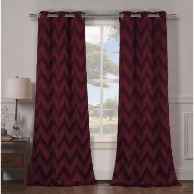 Blackout Lysanna 84 in. L Blackout Grommet Panel in Wine (2-Pack)