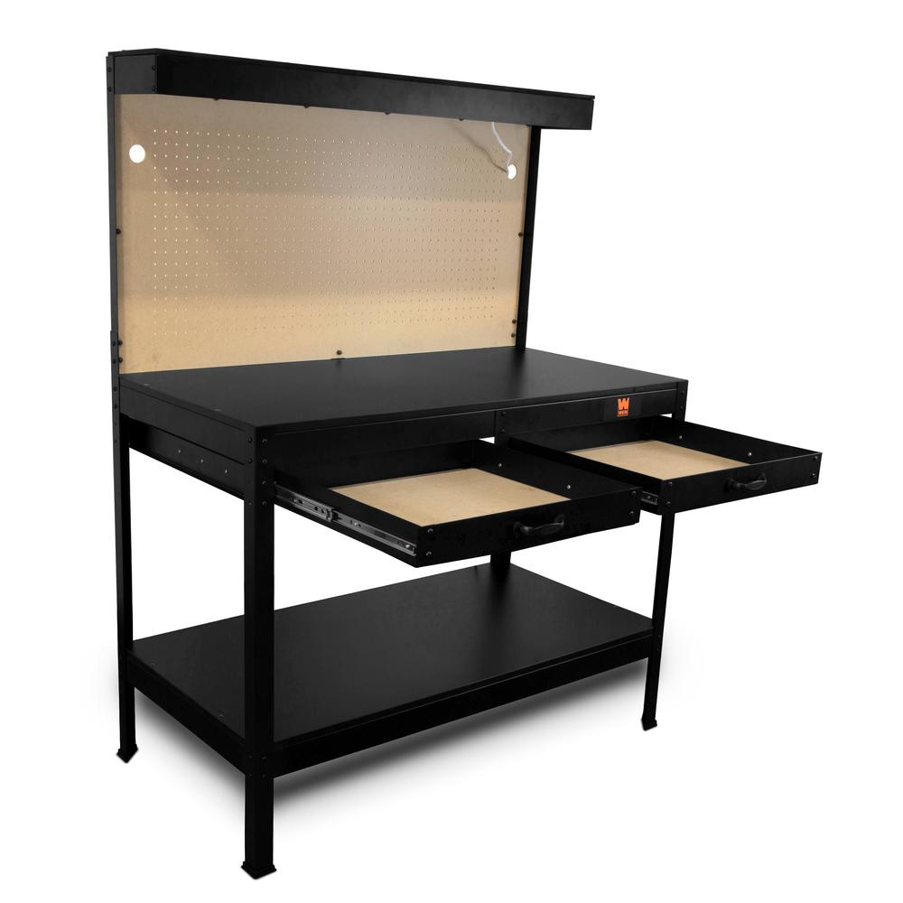 Fine Wen 4 Ft Workbench With Power Outlets And Light Pdpeps Interior Chair Design Pdpepsorg