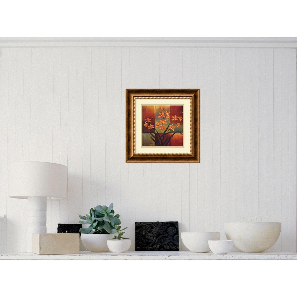 """17 in. W x 17 in. H """"Orange Orchid"""" by Jill Deveraux Framed Art Print"""