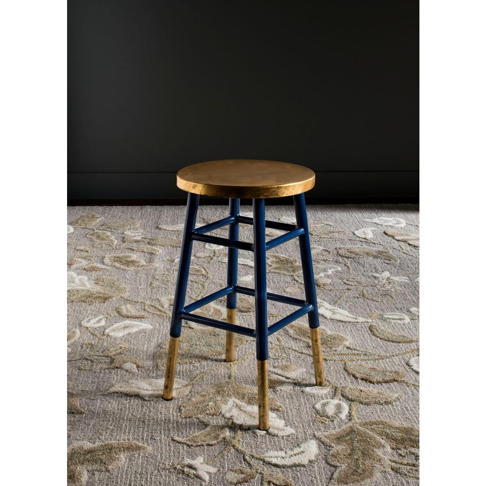 safavieh emery 24 in navy and gold bar stool fox3231a the home depot