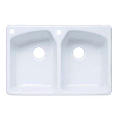 Tanager Drop-In Cast-Iron 33 in. 2-Hole Double Bowl Kitchen Sink in White